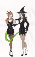 Gwen and Jeanette say Happy Halloween by 13foxywolf666