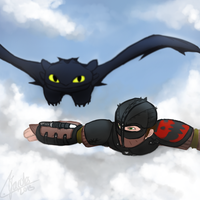 Toothless and Hiccup by Livori