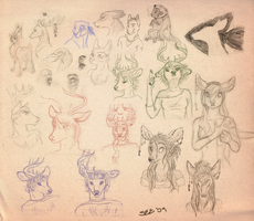 Some sketches and some deer by SeeTheMutt