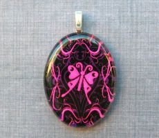 Pink butterfly glass necklace by AngelElementsEtsy