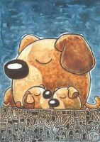 Dogs ACEO ATC Serias Mother and baby by Siriliya