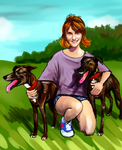 My cousin and dogs by king-ghidorah