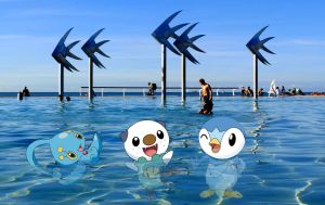 Manaphy, Oshawott and Piplup at Cairns waterfront! by ryanthescooterguy