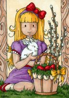 Little Girl with Bunny and Easter Eggs ACEO by Araen