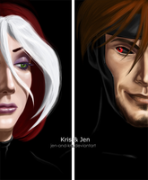 Gambit and Rogue. by jen-and-kris