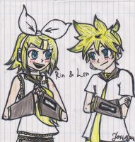 Kagamine Rin and Len by Janja99