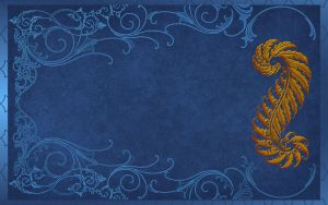 Gold Deco and Blue Scroll Work by kabegami