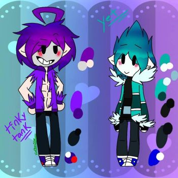 tinky tank and yeti tubby ( humans chibis ) by katherine5721