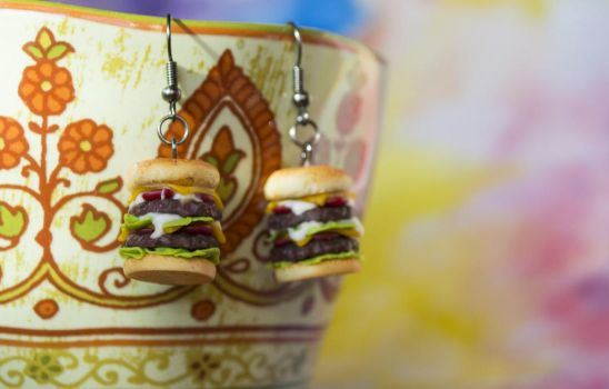 Double Cheeseburger #2 Polymer Clay by FoodFairy