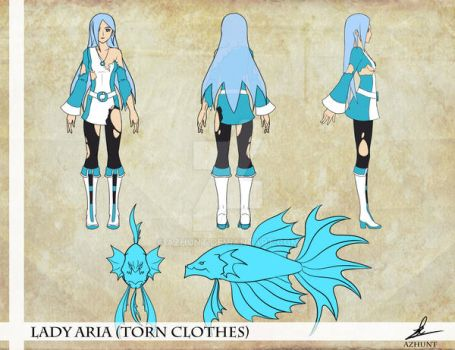 LadyAria TornClothes ConceptArt TurnAround by Azhunt