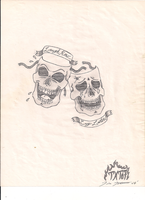Tragedy and Comedy Skulls by Travis-Torture