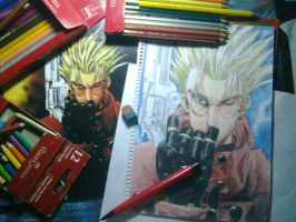 behind the scene: vash drawing by blackyuna