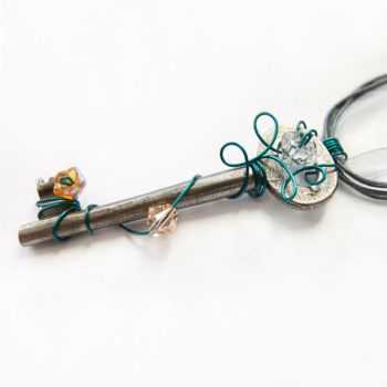 Vintage Key Necklace - Turquoise Minimalism by DreamyElegance