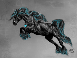 Fantasy friesian horse by Alexis-art