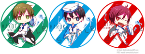 Free! - Chibi sailor man badges by kuro-alichino
