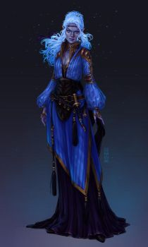 Commission: Dark Elf Sorceress by dimary