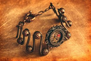 Steampunk Bracelet with Fire Opal Crystal by CatherinetteRings