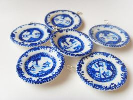 Blue n White Polymer Clay China Plates by tyney123