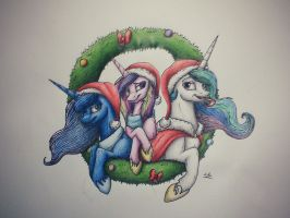 Advent Calendar: 24- Celestia, Luna and Cadence by LupiArts