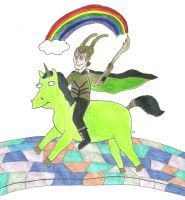 The God of Mischief and His Unicorn by TheSimpsonsFanGirl