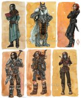 A Bunch of Skyrim Characters by Saph-y