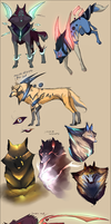 Elemental and storm wolf sketches - February 201 by Autlaw