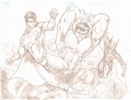 Superman and Batman Beyond vs Hulk (Commission) by JazzRy