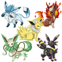 Mega Eeveelutions by EmeraldSora