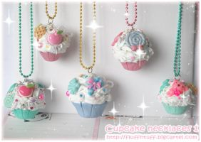 Cupcake Necklaces 1 by Fluffntuff