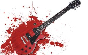 Les Paul Splatter Wallpaper by Sugarscream