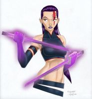 Psylocke colour sketch by crayonslut