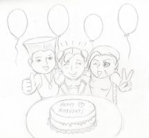 Happy chibi birthday (sketch) by Autoclave07