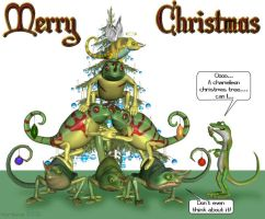 Merry Chameleon Christmas by wyrdwing