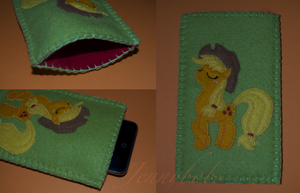 MLP Apple jack felt phone case by Blindfaith-boo