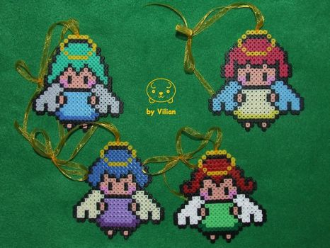 Hama midi angel guardians or ornaments (on Etsy) by VilDeviant