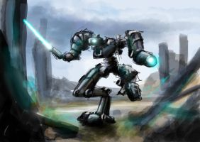 mech attacking by greensandsguy