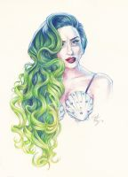 Green Seashell Lady by DibuMadHatter