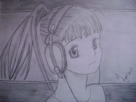 A girl with headphone by charming545