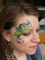 Eye leaf elf face paint by Bodypaintingbycatdot