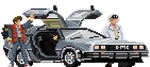 Delorean pixelado doc and marty by matimoba