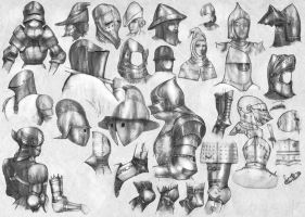 Medieval helmets and articulated joints (2) by StarDlx1984