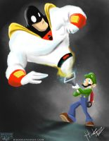 Luigi meets Space Ghost by Hasaniwalker