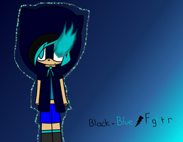 Black-Blue Fighter 2 (With Blue Flame) by InsaneVaporeon
