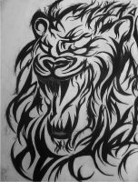 Tribal Lion that shows it's fangs by theblackalma13