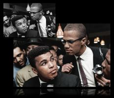Malcolm X chats with Muhammad Ali.   Colorized by JohnnyMex