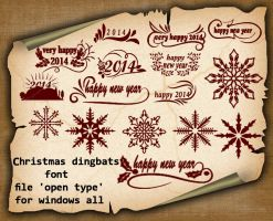 Christmas dingbats font by roula33