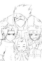 Naruto Team 7 lineart by anneleen