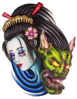 Geisha Demon by zombilly