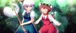 Touhou - Youmu and Chen by KANE-NEKO
