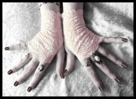 Blush Lace Fingerless Gloves by ZenAndCoffee